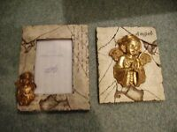 ORNAMENTAL ANGEL PLAQUE AND MATCHING PICTURE FRAME