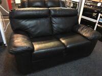 ScS New/Ex Display Black Leather 2 Seater Sofa