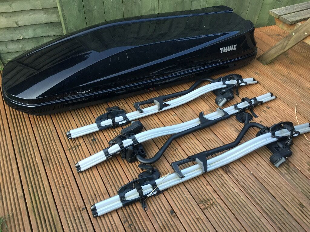Thule Touring Sport Roofbox And 3 Thule Proride 598 Bike