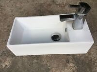 Cloaks sink and tap, for sale, white