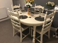 Cream 4 seater round shabby chic dining table And chairs