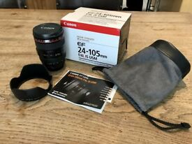 Canon 24-105mm f4 L IS USM Lens inc. box, pouch, hood & book