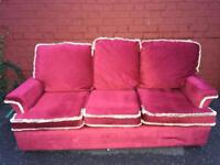 Red draylon style 3 seater sofa free to collector