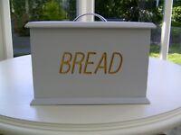 Grey wooden bread bin