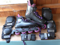 Roy Sport RS5150 Street Champion inline roller blades + knee, wrist & elbow protectors