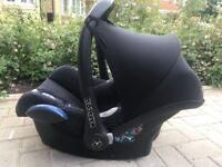 Maxi Cosi Cabriofix Car Seat, isofix base, footmuff & raincover