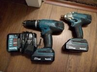 Makita 18v Li Ion Cordless Combi Drill Impact Driver Hp457d Td127d, 2x batteries, charger and bag