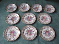 Vintage BONE CHINA WARRANTED 22 KT GOLD floral tableware, 6 cake plates and 4 saucers