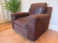 Stylish Habitat Genuine Leather Suede Armchair