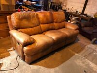 Real Leather Tan Brown Double Reclining 3 Seater Sofa