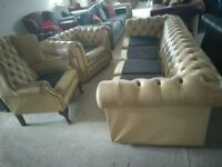 Vintage Chesterfield 4 seater Queen Anne & Club Leather Delivery Poss
