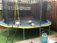 12ft trampoline, one year old, includes enclosure and ladder, but dismantales and collects