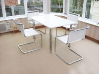 REFURBISHED RETRO STYLE DINING TABLE & 4 LEATHER CHAIRS (CAN DELIVER)