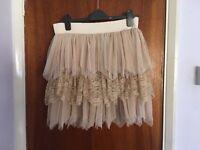 ICHI Lumu skirt moonlight size M lace cream beige layers