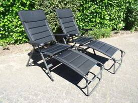 Two recliner deck chairs