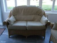 Indoor conservatory 2 seater settee and 2 armchairs.