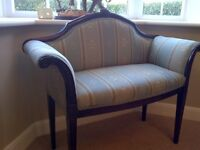 Stunning Edwardian antique settee. Recently professionally recovered.
