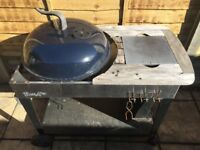 Large Bondi charcoal kettle BBQ with bin and marble chopping board