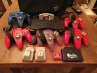Nintendo 64 (N64) console with GoldenEye game, plus extras