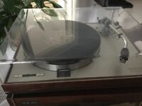 Luxman turntable with Perspex case