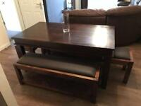 Solid wood dining table and benches/stools