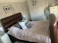 Leather tv double bed