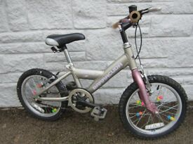 GIRLS 16 INCH WHEEL BIKE ~ BARRACUDA CARNIVAL ~ PINK/SILVER ~ AGE 4-7 IN GREAT CONDITION £25