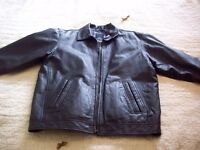 MENS BLACK SOFT LEATHER JACKET SIZE 44INS CHEST GOOD CONDITION