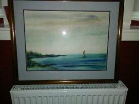 ORIGINAL WATER COLOUR OF SAILING BOAT, OUT IN THE OCEAN
