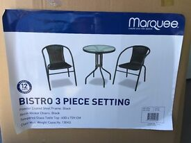 NEW BISTRO PATIO TABLE & 2 CHAIRS & USED WARDROBE & ROMAN BLINDS - NEW/LINED