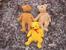 3 Beanie baby Teddies - Poopsie, Cashew, Fuzz. VGC. £6. Torquay, can post.