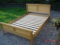 Oak Framed Double Bed. Mattress available if Required. Can Deliver.