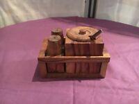 Vintage Wooden Cruet Set