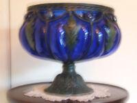Art Nouveau Bristol Blue Glass Bowl and Stand