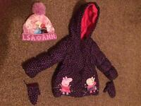 Age 2-3 Years Girls peppa pig rain coat with mits and frozen hat