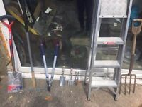 GARDENING HAND TOOLS FOR SALE SOME ARE STILL NEW. SHEARS.SHOVEL.LADDER.RAKE.OTHER SMALL HAND TOOLS.