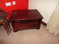 TV STAND - DVD, DARK WOOD WITH DETAIL