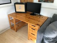 Large Wooden Desk - Three drawers, two shelves