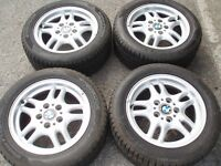 "Set Genuine wheels BMW 16"" 1 , 3 series e36 e46 5x120 tyres 225/50/16 tread 8mm Delivery available"