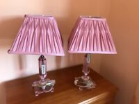 Pink crystal lamps with silk shades