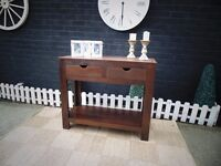 SOLID WOOD (OAK) CONSOLE TABLE PROPER CHUNKY ONE WITH 2 LARGE DRAWERS IN EXCELLENT CONDITION