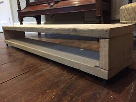 Hand crafted, recycled scafflold wood, rustic TV stand