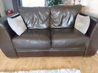Furniture village brown leather 3 and 2 seater sofas
