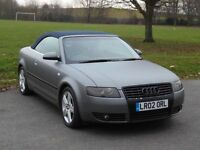 AUDI A4 3.0 PETROL CONVERTIBLE, IN MATT GREY AND BLUE ROOF , MANUAL, LOW MILEAGE, NOT SLK , BOXTER,