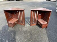 Antique vintage retro furniture corner wall cabinet pair