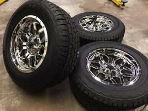 "18"" FAST RIGG (CHROME) Wheels 6x139.7 and All Terrain Tires (GMC, CHEVROLET 1500)"