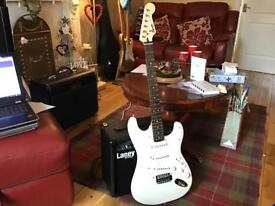 Fender Squier Strat Electric Guitar with Laney 15W Amplifier