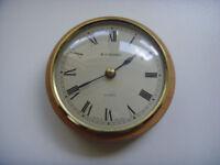 Round Brass/Wood Caravan Clock