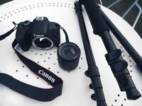 Canon EOS 750D DSLR Camera (with lense + tripod)