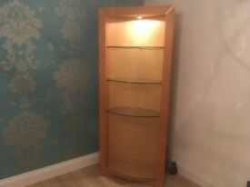 Beautiful Solid Wood Wall Unit With Lights And Glass Shelves. Need Gone This Week